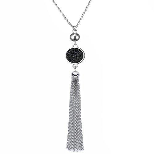 Lange Kette Quaste Halskette Anhänger Harz Pullover Kette Bohème-Stil für Frauen, Farbwechsel (Schwarz)