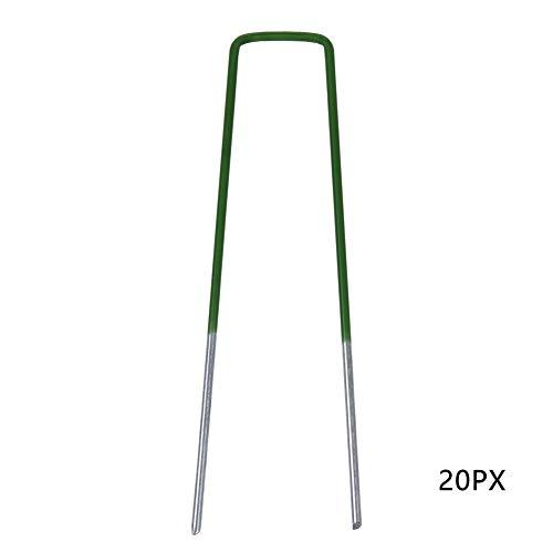 Edwiin 20xErdanker halbgrün Kunstrasenanker Stabile Bodenanker für Unkrautvlies, Gartenvlies, Zaun & Camping - 150 MM Lang, 35 MM Breit, Ø 3 MM -