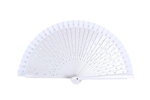 Set von 12Fächer Holz weiß mit Herzen-Fan Pattern für günstige Details Hochzeiten und Original-Holz, verzierte Herzen Weiße Fan Pattern