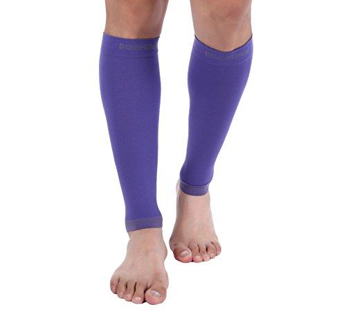 Fascia a compressione per polpaccio di alta qualità (1 paio) doc miller, supporto robusto a compressione graduata, 20-30mmhg, ideale per sport, riabilitazione, periostite, vene varicose viola medium