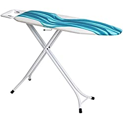 Mabel Home Hauteur réglable, Deluxe, 4-Leg, Planche à Repasser, Extra Coque, Bleu/Blanc à Motifs