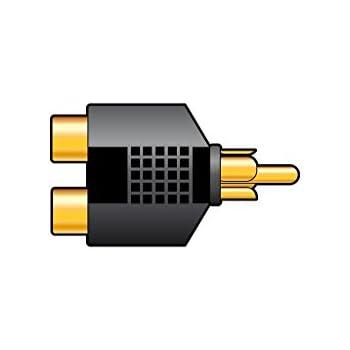 GOLD 1 to 2 RCA PHONO AV AUDIO VIDEO Y SPLITTER ADAPTER