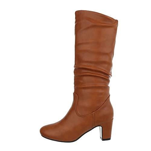 Ital-Design Damenschuhe Stiefel High Heel Stiefel Synthetik Camel Gr. 39