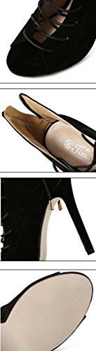 SHEO sandales à talons hauts Chaussures en dentelle à dentelle en dentelle ( Couleur : Noir , taille : 39 ) Noir