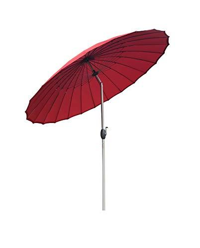 SORARA Sonnenschirm Parasol | Rot | Ø 260 cm | Rund Shanghai | Knickbar | Polyester 180 g/m² (UV 50+)| Kurbel & Pendel Mechanismus (excl. Base)