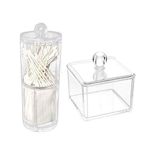 Preisvergleich Produktbild Yardwe Acryl Wattestäbchen Box Kosmetik Transparent Aufbewahrungsbox Desktop Finishing Box Wattepad Aufbewahrungsbox 2 Stücke (Säulen und Platz)