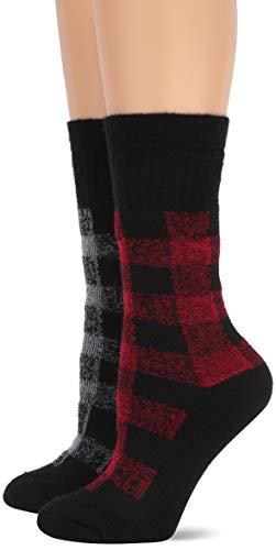 Wise Blend Damen Merino Wool Blend Full Cushion Plaid Crew 2 Pair Pack Legere Socken, rot/grau, Medium -
