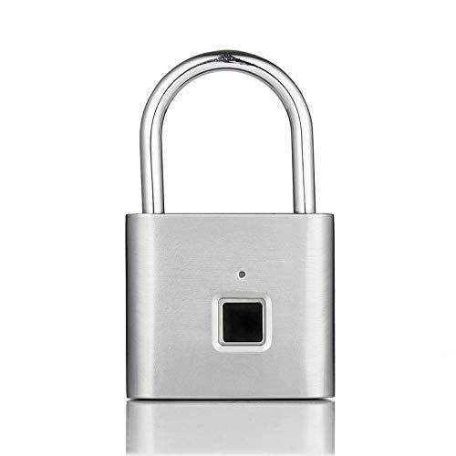 Guomvp Ecurity Keyless Usb wiederaufladbares Türschloss, Fingerabdruck Smart Padlock Quick Unlock Zinklegierung Metall silber -
