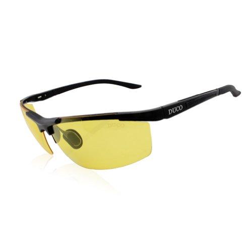 Duco Herren und Damen Nachtfahrbrille mit Kohlefaser Rahmen Nachtsichtbrille Autofahren Anti Glanz Polarisiert KontrastBrille 8530 (Schwarz)