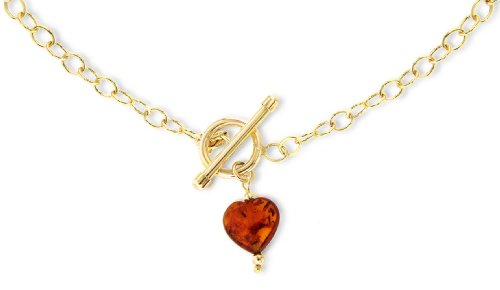 Carissima 9ct Yellow Gold Amber Heart T-Bar Chain Necklace 46cm/18""