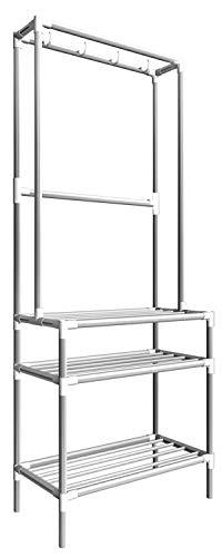 EYEPOWER Metall Garderobe Schuhregal 66x33x172 cm 3 Ablagen Garderobenständer