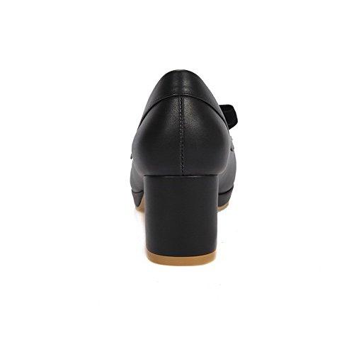 AgooLar Femme Tire Pu Cuir Rond Couleur Unie à Talon Correct Chaussures Légeres Noir