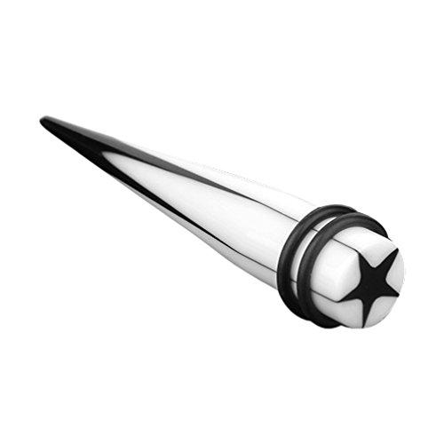 Piercingfaktor Piercing Ohrpiercing Dehnungsstab Dehnstab Taper Expander Ohr Stab Weiß Stern Schwarz 5mm