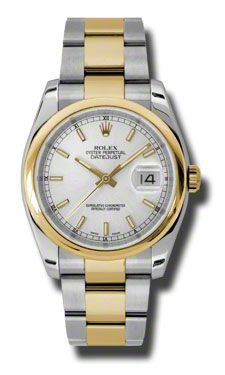 Rolex Mens New Style Heavy Band Stainless Steel & 18K Gold Datejust Model 116203 Oyster Band Smooth Bezel Silver Stick Dial