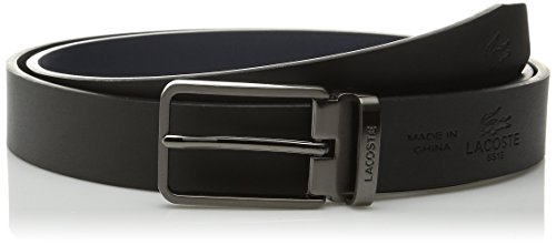 66cf549f80c5f5 Lacoste Mens Premium Leather Belt With Interchangeable Logo Plate Buckles  Set Black Navy 85 Rc1355 Hc9