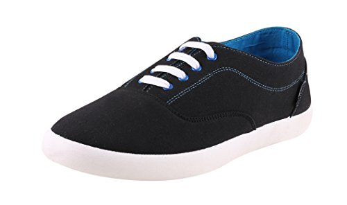 Globalite Men's Canvas sneaker ENIGMA BLACK/BLUE GSC1108 UK/IN 8  available at amazon for Rs.299