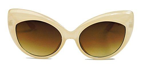 Bold Frame Cat Eyes : Retro Sonnenbrille für Damen im 50er 60er Jahre Cateye Stil C72 (Nude)