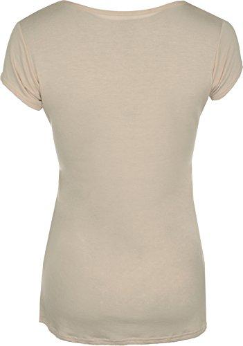 Donna Tigre Stampa Animale A Maniche Corte Scoop da Top Elasticizzato T-shirt–8–14 Mocha