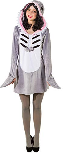 narrenkiste O9983-38-40 grau-weiß Damen Sexy Hai Kleid Raubfisch Kostüm mit Rückenflosse Gr.38-40