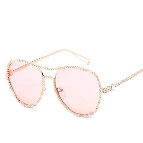 Easy Go Shopping Damen Sonnenbrillen Metall runder Rahmen Strass polarisierte Sonnenbrillen. Sonnenbrillen und Flacher Spiegel (Farbe : Rosa)