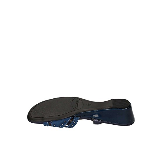 08755 NERO Scarpa donna Melluso sandalo zeppa pelle made in Italy Blu