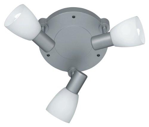 Reality Leuchten LED Spot Deckenlampe inklusive 3 x E14, 4 W, 310 lm, 3000 K, D: 18 cm, titanfarbig, Glas opal weiß, R82223987