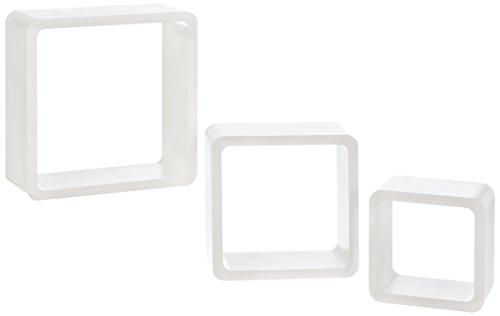 ts-ideen Lot de 3 étagères murales cubiques Lounge Design Rétro Années 70 Blanc terne
