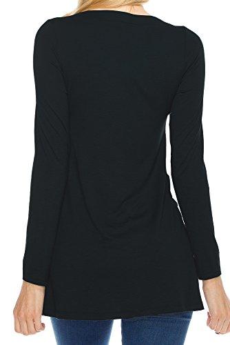 Damen Blusen Weihnachts Rentier Gedruckt Herbst Winter Hemd Grundiert Tops T-Shirt Langarm Rundkragen Oberteil Young Fashion Schwarz