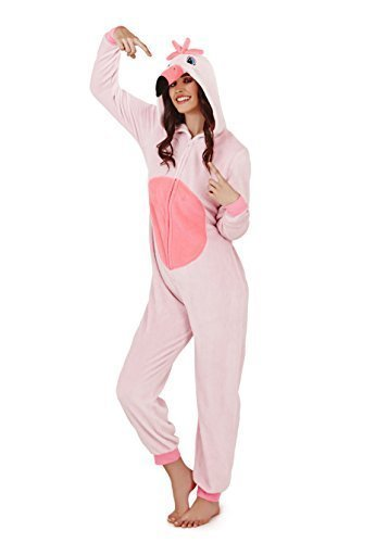 - 31 2BJCH37RuL - Loungeable, Ladies Luxury Fleece Animal Onesie, Freya The Flamingo, Large (UK 16-18)
