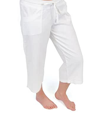 Womens/Ladies Summer Linen Blend 3/4 Length Trouser With Pockets & Draw String, White 12