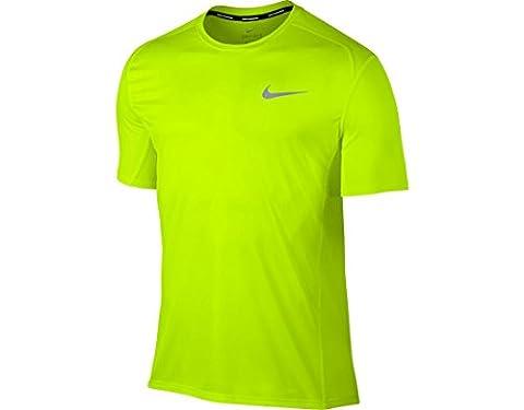 NIKE Miler Dry Running Top T-shirt L Blanc/jaune
