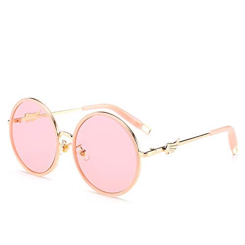 Yangjing-hl Wings Sonnenbrillen Retro runden Rahmen Brillen Street Beat wild bunten Sonnenbrillen weiblich C pink