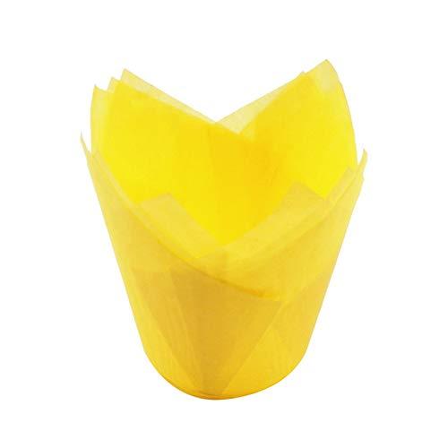 KHKJ IVYSHION 50Pcs Tulip Flower Chocolate Cupcake Wrapper Baking Muffin Paper Liner Mold Disposable Paper Cake Decoration Supplies