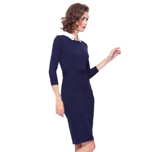 Damen Umlegekragen 3/4 Langarm Tunika kleid Blau