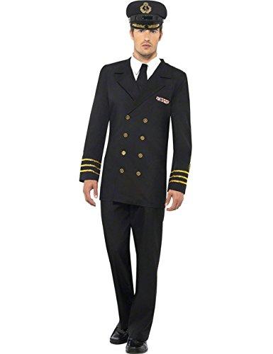 Marine Offizier Kapitän Kostüm schwarz-gold L Marine-offizier-abzeichen