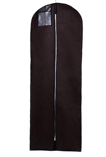 Atmungsaktiver Kleidersack Schutzhülle für Brautkleider / Abendkleider / Anzüge / Mäntel - ca. 180 cm - Reissverschluss - TASCHE MIT REISSVERSCHLUSS für Zubehörteile - Braun Farbe, KXB-103 Brown