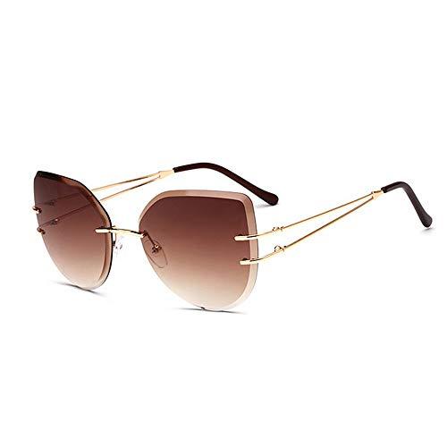 Yiph-Sunglass Sonnenbrillen Mode Cat Eyes-Sonnenbrillen der Frameless Style-Frauen Farbige Linse UV400 Schutz Fahren Radfahren Laufen Angeln (Farbe : C3)