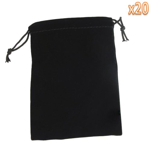 niceeshop(TM) 20 Pcs Stylish Velvet Drawstring Jewelry Pouches/Gift Bags/Pockets-Black
