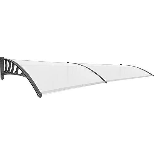 PrimeMatik CY46-VCES Schutzdach für Türen und Fenster, 300 x 90 cm, Schwarz