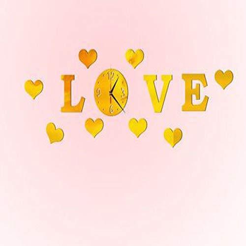 XIEPEI Wanduhr Wandaufkleber 3D Wandaufkleber Acrylspiegel Wandaufkleber Gold Love 2 (Gold 24 Köln)