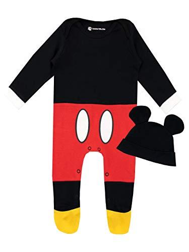 Disney Pijama Conjunto de Pijama Entera y Gorro para Niños Bebés Mickey Mouse Rojo 3-6 Meses