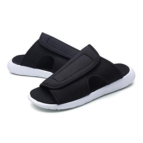 Casual Suede Shoe Men Sandal Casual Slip On Style Baumwolltuch Material weich bequem und leicht Laufsohle Casual Slippers Herren Sneaker (Color : Schwarz-Weiss, Größe : 41 EU) Cotton Suede Cap