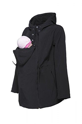 Happy Mama. Mujer Chaqueta Softshell Capucha Inserción Extraíble Abrigo. 447p (Negro, EU 40, XL)