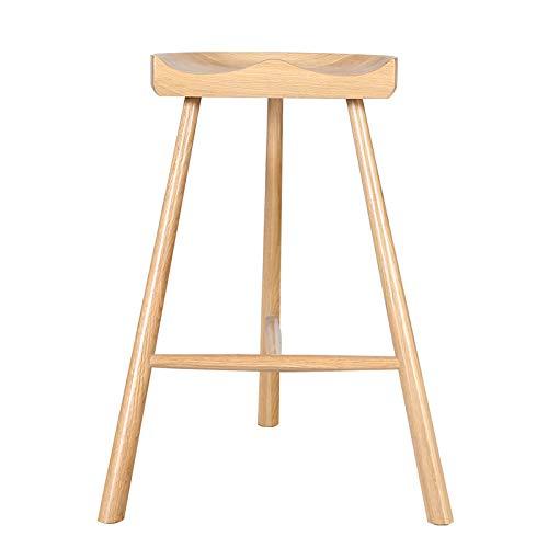 OLI Hohe Barhocker, Alles aus massivem Holz, einfacher Barhocker aus Holz, Hause Concave Seat, Küchentheke, Frühstücksstuhl, Makeup Vanity Hocker,B,46.5 * 68cm