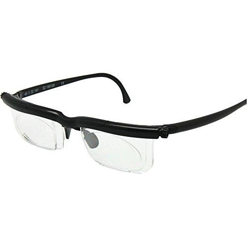 Adlens foco ajustable lentes -6D + 3D dioptrías miopía aumento lectura gafas de fuerza Variable (negro)