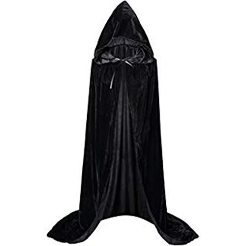 INLLADDY Umhang mit Kapuze Lange Cape Vampir Kostüm Halloween Erwachsener Unisex Schwarz L (Halloween-kostüm 2019 Gute Ideen)