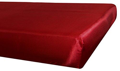 beties Glanz Satin Spannbetttuch ca. 120x200 cm anschmiegsam & edel (wählen Sie Ihren Kissenbezug + Spannbetttuch extra dazu) Farbe Karmin-Rot