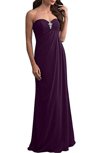 Gorgeous Bride Schlicht Herzform Lang Etui Chiffon 2017 Abendkleider Lang Cocktailkleider Ballkleider Grape