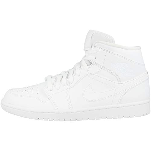 big sale feedf 3fce5 Nike Air Jordan 1 Mid, Sneaker a Collo Alto Uomo, Bianco White 129,