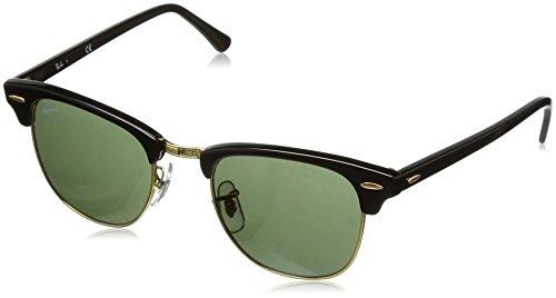 Rayban Unisex Sonnenbrille Clubmaster Mehrfarbig (Gestell: Schwarz/Gold, Gläser: Grün Klassisch W0365) Medium (Herstellergröße: 49)
